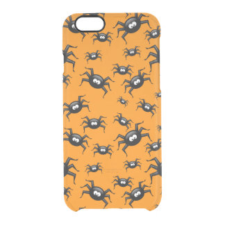 cartoon funny black spiders over yellow background uncommon clearly™ deflector iPhone 6 case