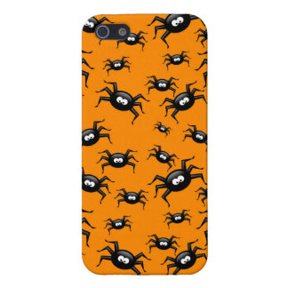 cartoon funny black spiders over yellow background covers for iPhone 5