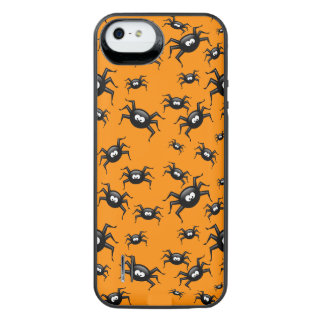 cartoon funny black spiders over yellow background uncommon power gallery™ iPhone 5 battery case
