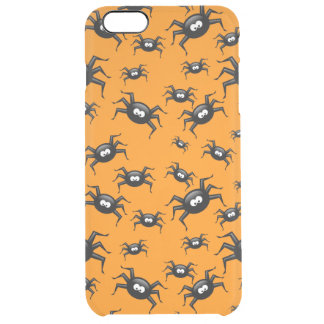 cartoon funny black spiders over yellow background uncommon clearly™ deflector iPhone 6 plus case
