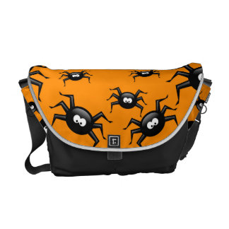 cartoon funny black spiders over yellow background messenger bag