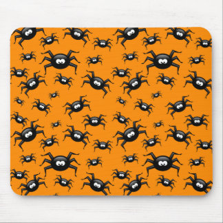 cartoon funny black spiders over yellow background mouse pad