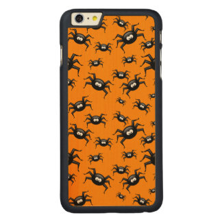 cartoon funny black spiders over yellow background carved® maple iPhone 6 plus slim case