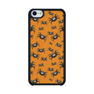 cartoon funny black spiders over yellow background carved® maple iPhone 5C case