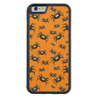 cartoon funny black spiders over yellow background carved® maple iPhone 6 bumper case