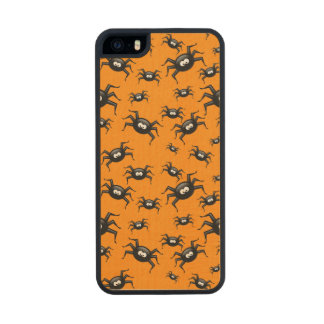 cartoon funny black spiders over yellow background carved® maple iPhone 5 slim case