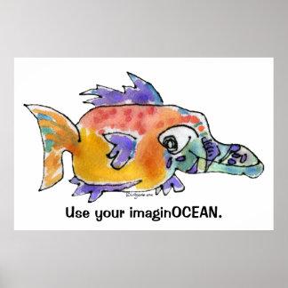 Cartoon Funny Fish 099 ImaginOCEAN Poster Large