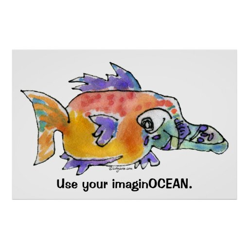 Cartoon Funny Fish 099 ImaginOCEAN Poster Large
