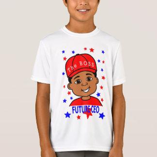 Cartoon Future CEO Boy Wearing Red Cap T-Shirt