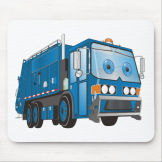 Cartoon Garbage Truck Blue Mouse Pad