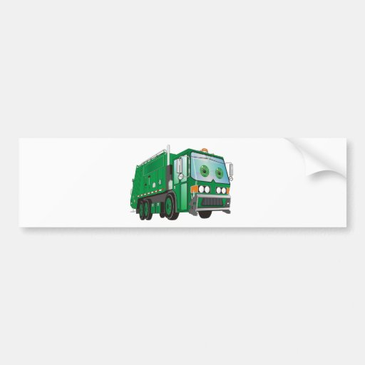 Cartoon Garbage Truck Green Bumper Stickers