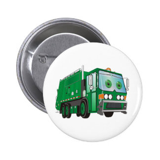 Cartoon Garbage Truck Green Button