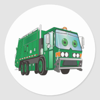 Cartoon Garbage Truck Green Classic Round Sticker
