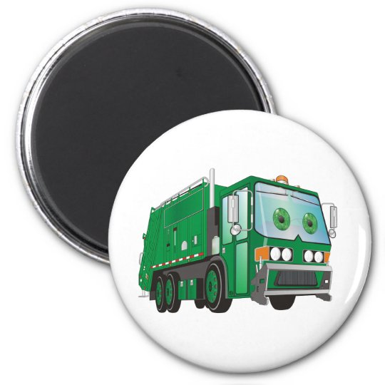 Cartoon Garbage Truck Green Magnet