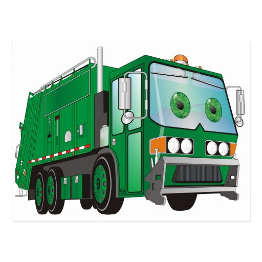 Cartoon Garbage Truck Green Post Cards