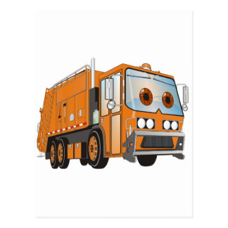 Cartoon Garbage Truck Orange Post Cards
