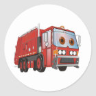 Cartoon Garbage Truck Red Classic Round Sticker