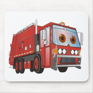 Cartoon Garbage Truck Red Mouse Pad