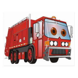 Cartoon Garbage Truck Red Postcard