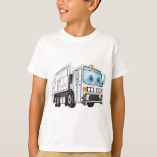 Cartoon Garbage Truck White T-Shirt
