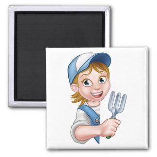 Cartoon Gardener or Farmer Woman Magnet