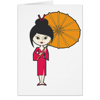 Cartoon Geisha Lady Card