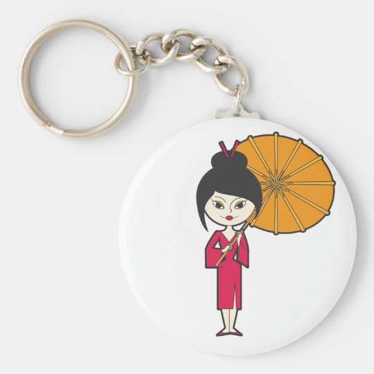 Cartoon Geisha Lady Keychain