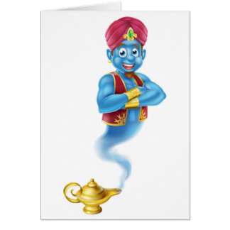 Cartoon Genie and Lamp Card