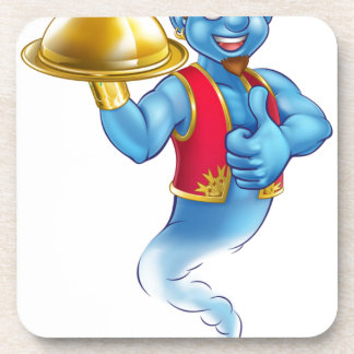 Cartoon Genie Serving Food Coaster
