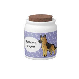 Cartoon German Shepherd Candy Jar