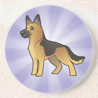 Cartoon German Shepherd Drink Coaster