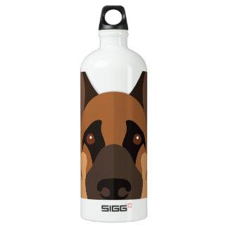 Cartoon German Shepherd Head Water Bottle