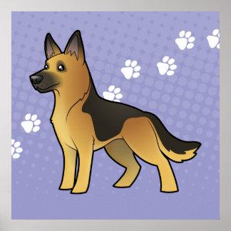 Cartoon German Shepherd Poster