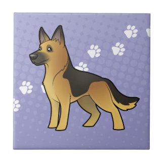 Cartoon German Shepherd Small Square Tile