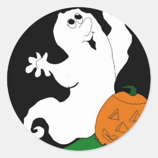 Cartoon Ghost and Pumpkin Classic Round Sticker