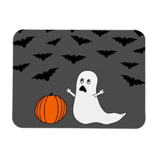 Cartoon Ghost & Bats Halloween (Gray Background) Rectangular Photo Magnet