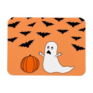 Cartoon Ghost & Bats Halloween (Orange Background) Rectangular Photo Magnet