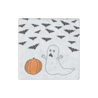 Cartoon Ghost & Bats Halloween Stone Magnet
