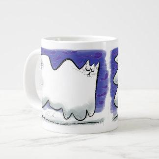 Cartoon ghost cat with sky large coffee mug