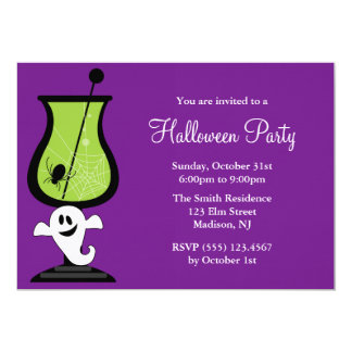 Cartoon Ghost Halloween Party Card