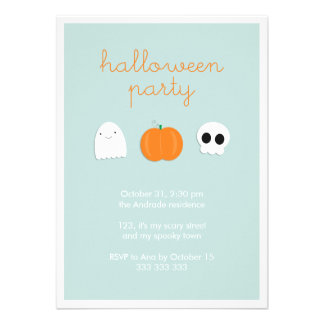 Cartoon Ghost Skull Pumpkin Cute Halloween Party Invitation