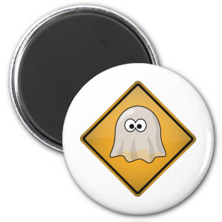 Cartoon Ghost Warning Sign 2 Inch Round Magnet
