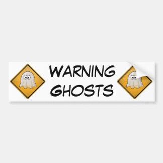 Cartoon Ghost Warning Sign Car Bumper Sticker