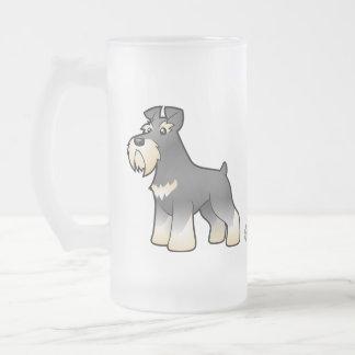 Cartoon Giant/Standard/Miniature Schnauzer Frosted Glass Beer Mug