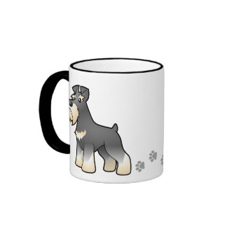 Cartoon Giant/Standard/Miniature Schnauzer Ringer Coffee Mug