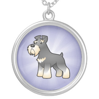 Cartoon Giant/Standard/Miniature Schnauzer Silver Plated Necklace