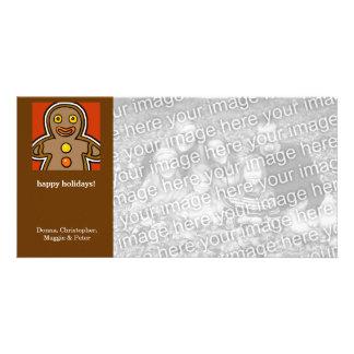 Cartoon gingerbread man holiday photo card