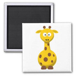 Cartoon Giraffe 2 Inch Square Magnet