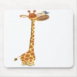 Cartoon Giraffe and Friend mousepad