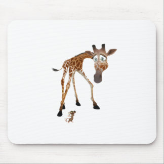 Cartoon Giraffe and Mouse Mouse Pad